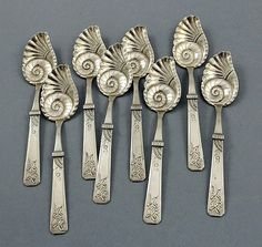 "munan15: ""Duhme antique sterling silver conch shell ice cream spoons """