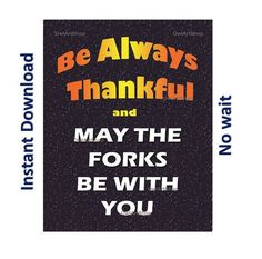 Thanksgiving be Thankful and May the forks be with by OwlArtShop