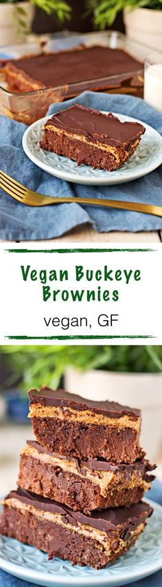 These Buckeye Brownies are not only vegan and gluten free - these are seriously a peanut butter and chocolate dream. All natural ingredients come together in this fudgy indulgence with a  delicious nut butter layer and a cross chocolate topping for an incredibly satisfying dessert.
