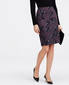 "We chose a polished pencil silhouette to showcase this stunning print, flaunting alluring florals in a swoon-worthy twilight palette. Hidden back zipper with hook-and-eye closure. Back vent. Lined. 21 1/2"" long."