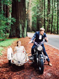 Vintage Motorcycle with a Sidecar for Wedding Portraits on the Pacific Coast Highway | Perry Vaile Photography | http://heyweddinglady.com/fine-art-adventure-loving-redwood-elopement/