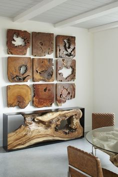 Rustic Contemporary Interior Design Add rustic wall art to contemporary home to emphasize your creativity. Rustic Furniture, Diy Furniture, Furniture Design, Furniture Projects, Wood Projects, Handmade Wood Furniture, Live Edge Furniture, Unique Furniture, Wood Table Design