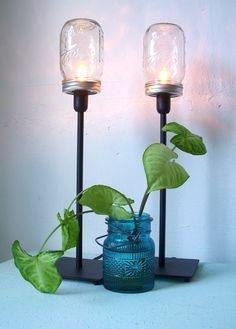 2 Mason Jar Table Lamps - Upcycled Lighting Fixtures - Mason Jar Lights - Industrial Modern Contemporary Home Decor