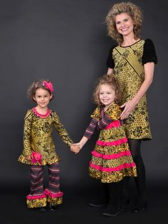 fw13: For moms who covet their daughters' dresses, there's the new Zaza Couture Pour la Femme, a riotously colored, throw-caution-to-the-wind collection of frocks and matching girls' separates. Fun! www.zazacouture.com