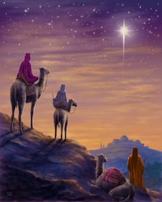 paintings and illustrations Christmas Scenes, Christmas Nativity, Christmas Paper, Christmas Pictures, Christmas Greetings, Religious Pictures, Jesus Pictures, Three Wise Men, Biblical Art