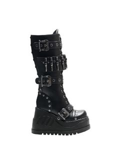 STOMP-314 Black Platform Boots - Costume Shoes and Boots