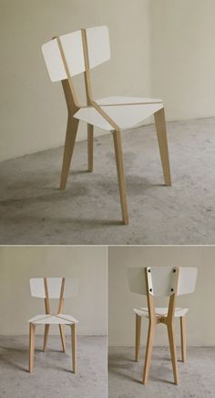 Naked: Beautiful structural lines in a light weight chair which folds flat. silla madera blanco