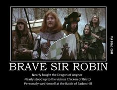 Brave Sir Robin played by Eric Idle in Monty Python And The Holy Grail Monty Python, Eric Idle, British Humor, British Comedy, Starwars, Funny Memes, Hilarious, Tv Memes, Jokes