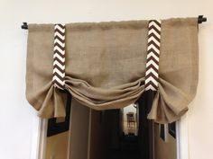 Brown chevron/Burlap valance /home and by pillowpuff on Etsy, $59.00