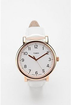 Nobody helps you tell time like Timex, right?  Timex Rose Gold Pearlized Strap Watch ($60)