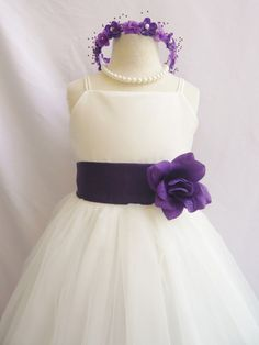 Flower Girl Dress IVORY/Purple Eggplant RB2 by NollaCollection