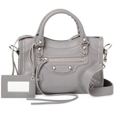 Balenciaga Women's Classic City Mini Leather Satchel - Grey (61,170 PHP) ❤ liked on Polyvore featuring bags, handbags, grey, leather purses, mini satchel purse, mini satchel handbags, genuine leather handbags and gray purse