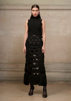 Bella Hadid wears fringed decorated gown from Givenchy Haute Couture's spring 2017 collection