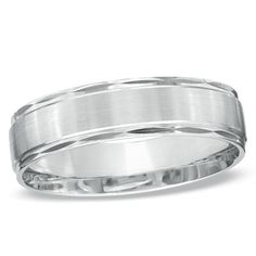 Men S 6 0mm Satin Stripe Wedding Band In 10k White Gold Zales Letloveshine