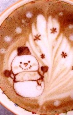 #Latte art :*¨¨*:Coffee♥Art:*¨¨*: #snowman #winter