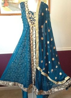"""PAKISTANI INDIAN FANCY WEDDING SHAADI SHALWAR KAMEEZ DRESS 3PC LARGE SUIT 40"""" #SHALWARKAMEEZ"""