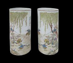 Pair Oriental Farming Scenery Porcelain Column Vase CS146   eBay