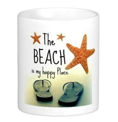 Flip flop mug with happy place quote: http://www.completely-coastal.com/2015/06/flip-flop-home-decor.html