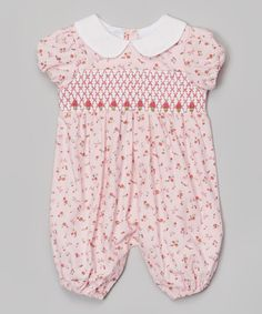 Look at this Lil Cactus Pink Floral Smocked Playsuit - Infant on #zulily today!