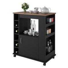Altra Furniture Altra Williams Kitchen Cart - Black/Old Fashioned Pine - 5276056PCOM