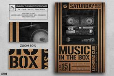 MUSIC IN THE BOX FLYER TEMPLATE:1 Photoshop psd file, 1 help file.A4 size (21x29.7 cm) or (8.3x11.7 inch) with bleed (21.6x30.3 cm) or (8.5x11.9 inch).Print Ready (CMYK, 300 DPI, bleed).Layers are labeled, color coded and organized in groups for easy navigation.Free Fonts used:Montserrat: http://www