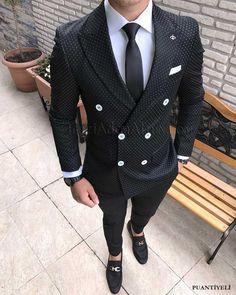 İtalyan kesim erkek ceket pantolon puantiyeli kruvaze takım elbise T1712