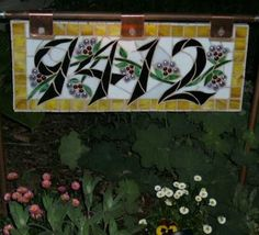 Mosaic House Number/Address Sign Stained by StainedGlassOriginal, $150.00