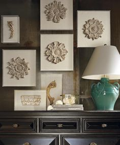 Reminiscent of stone ornamentation on old-world buildings, our round floral fragment art brings architectural personality to a room.