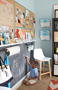Great kitchen wall idea! Top for adults, bottom for kids.