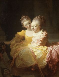 """Happy Celebrate with this portrait by Jean Honoré Fragonard's portrait, which was engraved with the title """"Les Jeunes Soeurs"""" or """"The Young Sisters."""" Jean Honoré Fragonard (French, The Two Sisters, ca. Fragonard Paintings, Jean Antoine Watteau, Jean Honore Fragonard, 18th Century Fashion, Two Sisters, Oil Painting Reproductions, French Art, French Rococo, Baroque"""