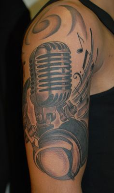 TumblrOld school microphone and headphones, music inspired piece by Ruslan Moshkin at hammersmith tattoo!!