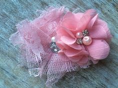 Perfectly Pink, Shabby Chic Flower Hair Clip with Delicate Pearl and Rhinestone Detail  $8
