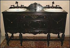 Antique sideboard re-purposed as a double bathroom vanity in a black antique patina.