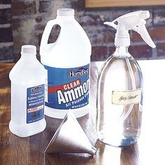 Glass Cleaner  Make your own streak-free glass cleaner by mixing a solution of 2 cups water, 2 cups rubbing alcohol, and 1/2 cup ammonia. Put the mixture in a spray bottle (32 ounces or larger) and use a clean, absorbent lint-free rag (soft cotton is ideal) to wipe the glass. The ammonia does most of the cleaning and the alcohol speeds up the drying time to help eliminate streaks