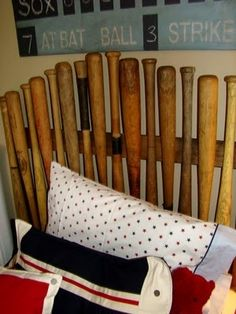 Baseball bats headboard-these bats are hard to find.