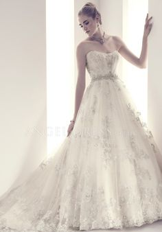 Stunning Floor Length Ball Gown Scoop Lace Wedding Gowns With Appliques