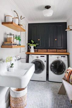 Laundry Room Is One Of Our Favorite Rooms–And Here's Why Monica Stewart Black and White Laundry Room.Monica Stewart Black and White Laundry Room. White Laundry Rooms, Farmhouse Laundry Room, Laundry In Bathroom, Laundry Closet, Laundry Decor, Laundry Room Floors, Small Bathroom, White Rooms, Mudrooms With Laundry