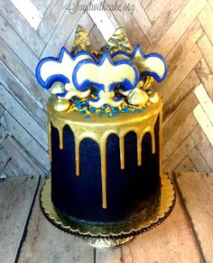 Blue and Gold Boy Scout Cake with Gold Ganache