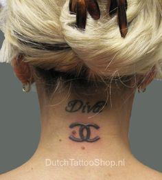Chanel Logo Neck Tattoo by Dutch Tattoo Shop - chanel Fan Art Tasteful Tattoos, Fake Tattoos, Feather Tattoos, Trendy Tattoos, Body Art Tattoos, Girl Tattoos, Tattoo Ink, Tatoos, Chanel Tattoo
