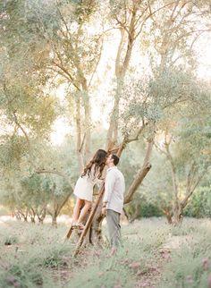Whimsical Ranch Engagement Ladder Bride Groom White Gray