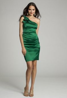Homecoming Dresses - Short Stretch Satin One Shoulder Dress from Camille La Vie and Group USA