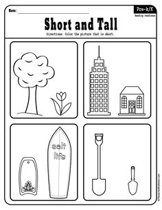 Which object is taller and which is shorter? These free printable activity worksheets help the child to learn about measurements on height. Printable Preschool Worksheets, Kindergarten Math Worksheets, Preschool Learning Activities, Preschool Curriculum, Free Preschool, Vocabulary Activities, Free Printable, Opposites Preschool, Petite Section