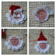 Santa Claus Snowflake crochet gift Christmas girland - perfect holyday decoration Cristmas aplique Xmas Tree ornament snovflake decoration - Her Crochet Crochet Santa, Crochet Snowman, Crochet Amigurumi, Crochet Ornaments, Crochet Snowflakes, Santa Ornaments, Crochet Gifts, Crochet Christmas Decorations, Christmas Crochet Patterns