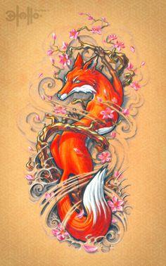 fox tattoo design by 13tatu.deviantart.com