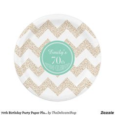 70th Birthday Party Paper Plates - Choose Color