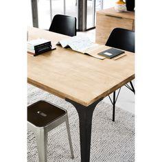 Solid mango wood dining table L180 Metropolis | Maisons du Monde Ikea Furniture Hacks, Teen Furniture, Hallway Furniture, Small Furniture, Affordable Furniture, Industrial Wall Shelves, Industrial Style Furniture, Industrial Dining, Mango Wood Dining Table