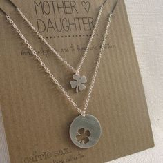 Items similar to Mother Daughter Necklace Set - Mother's Day Gift - lucky 4 leaf clover - shamrock - mom necklace - Mother's Day - mom jewelry - mommy gift on Etsy Ruby And Diamond Necklace, Diamond Initial Necklace, Dainty Gold Necklace, Good Luck Necklace, Evil Eye Necklace, Padlock Necklace, Necklace Set, Mother Daughter Jewelry, Mom Jewelry