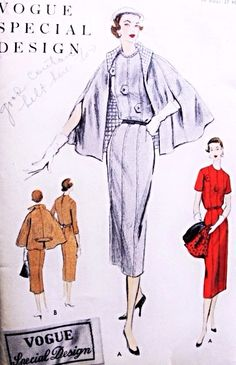 1950s Classy Dress and Cape Coat Pattern VOGUE SPECIAL DESIGN S-4587 Elegant…