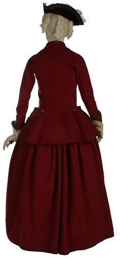 Riding habit | British | ca. 1770-1775 | Wool, linen, glazed wool and silver braid, hand-sewn (back view)