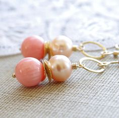 Peach Coral Earrings Freshwater Pearl Pink Coral Earrings 14kt Gold Fill Peach Wedding Jewelry Bridesmaid Gifts Country Chic Wedding Jewelry on Etsy, $44.00